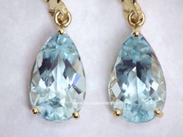 Aquamarine Earrings 14k Yellow Gold